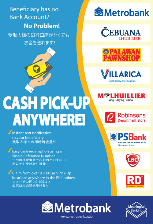 Cash Pickup anywhere